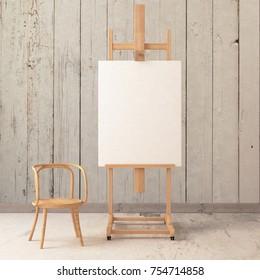 Mock up poster in workshop with easel.3d illustration. 3d render