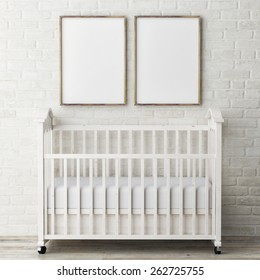 Mock up posters with baby bed, 3d illustration