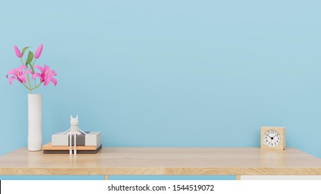 Mock up posters child room interior, empty blue wall background,3D rendering