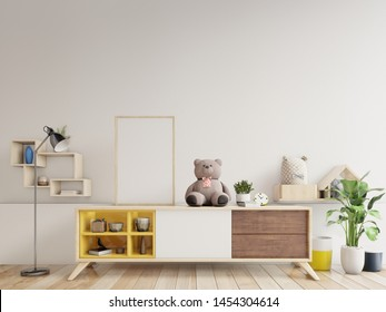 Mock up posters in child room interior,3d rendering