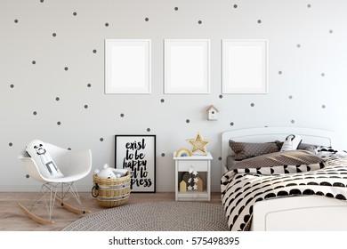 mock up posters in children room interior. Interior in scandinavian style. 3d rendering, 3d illustration