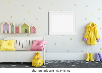 mock up posters in children room interior. Interior in scandinavian style. 3d rendering, 3d illustration