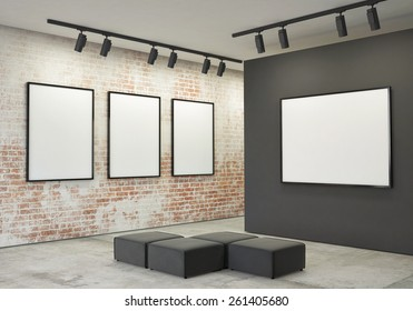 mock up posters frames and canvas in gallery interior background, 3d illustration