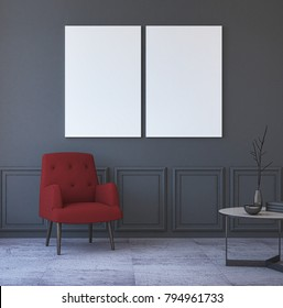 Mock Up Posters in Grey Interior with red Armchair. 3d Rendering