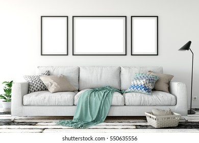mock up posters in living room interior. Interior in scandinavian style. 3d rendering, 3d illustration