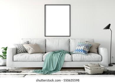 mock up posters in living room interior. Interior in scandinavian style. 3d rendering, 3d illustration
