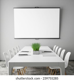 mock up projection screen in meeting room with conference table, hipster interior background, 3D render