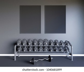 Mock up scene, 3d illustration , sport, gym, fitness, locker room