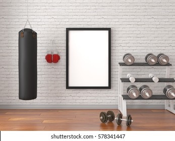 Mock up scene, 3d render, sport, gym, fitness