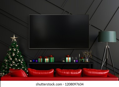 mock up smart tv. Christmas interior living room. 3d render