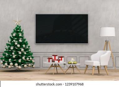 mock up smart tv. Christmas interior living room. 3d render