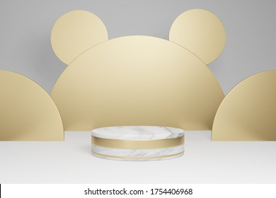 Mock up studio with marble cylindrical shapes, podium, platforms for product presentation, with gold object decoration on gray background. 3d rendering