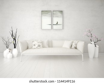 Mock up a stylish living room with a luxurious beige sofa and a stylish hipster background, 3d rendering.