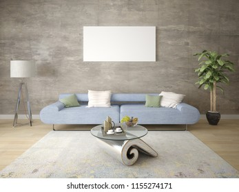 Mock up a stylish living room with a perfect sofa and a large natural vase, 3d rendering.