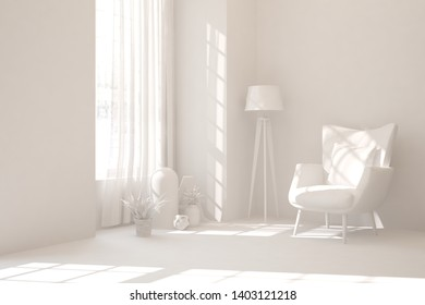 Mock up of stylish room in white color with armchair. Scandinavian interior design. 3D illustration