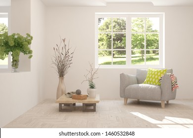 Mock up of stylish room in white color with armchair and green landscape in window. Scandinavian interior design. 3D illustration