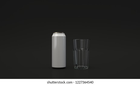 Mock up of tall white beer can 0.5l and an empty glass on black background. Design or branding template. 3D rendering illustration