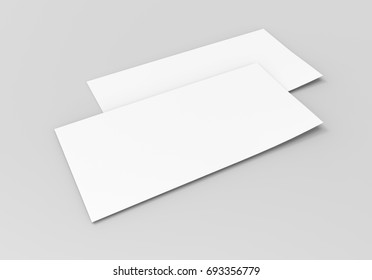 Mock up template blank empty gift voucher card on the grey background. For graphic design or presentation, 3D rendering illustration.