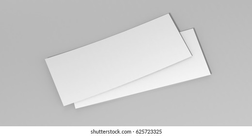 Mock up template gift voucher card on the grey background. For graphic design or presentation, 3D rendering illustration.