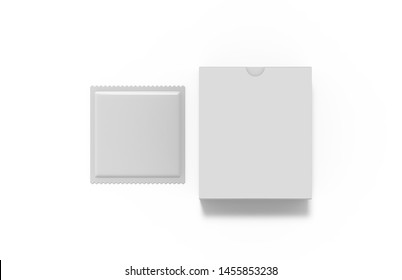 Mock up template of sachet and packaging box for food, cosmetics and medicines on isolated white background, 3d illustration