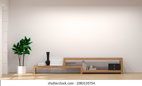Mock up Template Tv wood cabinet in modern empty room interior background  3d illustration home designs,background shelves and books on the desk in front of  wall empty wall