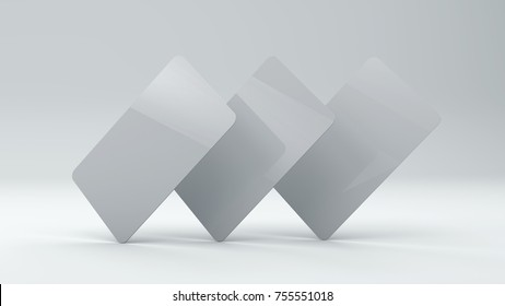 Mock up three plastic cards on white background 3d render