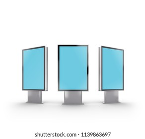 Mock up of three street information board at the stand. 3D rendering, isolated on white. Clipping path