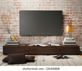 mock up tv screen with vintage hipster loft interior background, 3D render