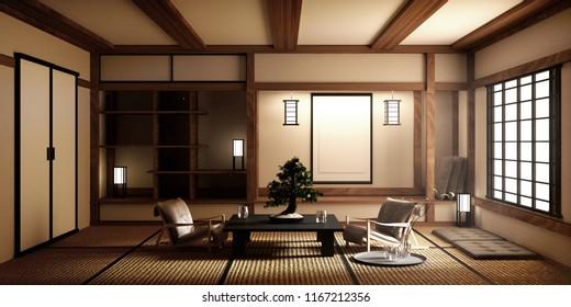 mock up, Japanese empty room tatami mat Designing the most beautiful. 3D rendering