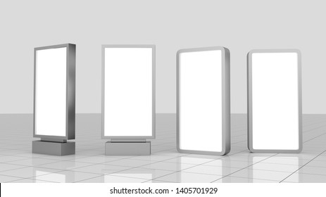 Mock up of vertical square silver light boxes, Template blank advertising for your texts message or content .Billboard banner isolated on white ,poster 3d rendering design Illustration.copy space