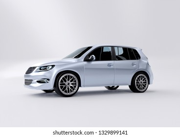 Mock up view of a car on a studio background - 3d rendering