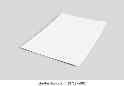 Mock up view of a sheet of paper isolated on a background with shadow - 3d rendering