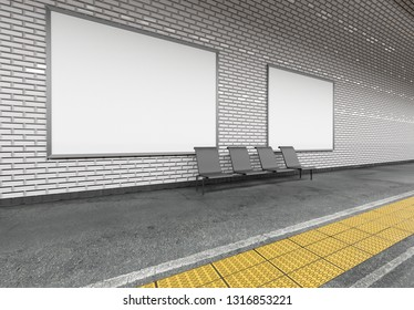 Mock up view of an subway Billboard Advertisement - 3d rendering