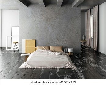 Mock up wall in bedroom interior. Bedroom hipster style. 3d illustration