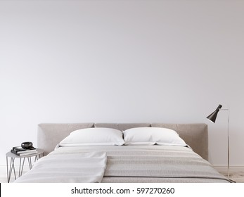 Mock up wall bedroom interior. Scandinavian style interior. 3d rendering