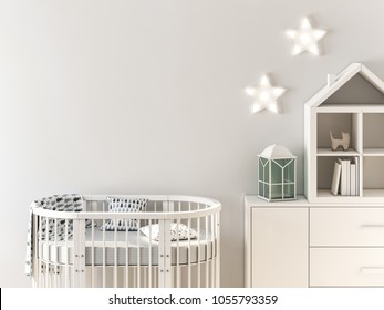 Mock up wall in child interior,  oval crib 3d rendering