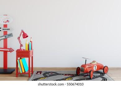 mock up wall in child room interior. Wall art. 3d rendering, 3d illustration