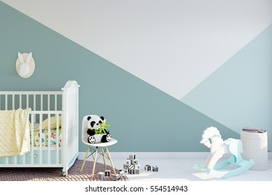 mock up wall in child room interior. Wall art. Interior in Scandinavian style. 3d rendering, 3d illustration