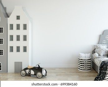 mock up wall in child room interior. Wall art. Interior scandinavian style. 3d rendering, 3d illustration