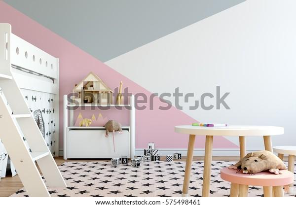 burlarse de la pared en el interior de la habitación infantil. De estilo escandinavo interior. Ilustración 3d, ilustración 3d