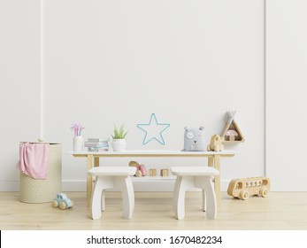 Mock up wall in children room,kids room, nursery mockup,3d rendering