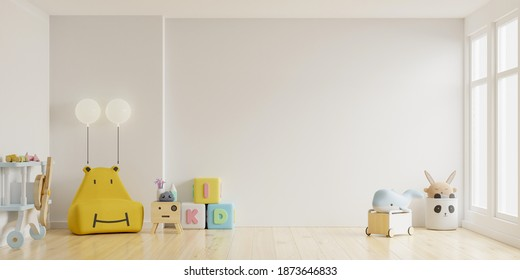 Mock up wall in the children's room in light light white color wall background.3d rendering