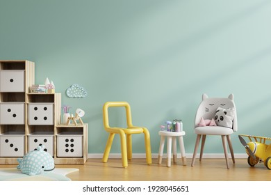 Mock up wall in the children's room in mint green color wall background.3d rendering