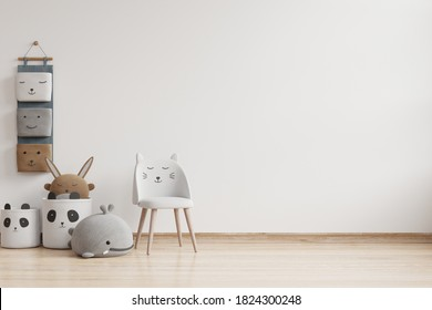 Mock up wall in the children's room in white color wall background .3d rendering