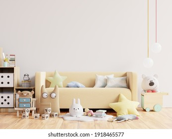 Mock up wall in the children's room in white wall background .3d rendering