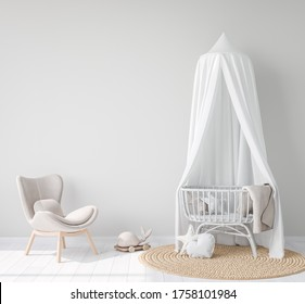 Mock Up wall In farmhouse Interior Background in baby room, nursery mockup, Scandinavian Style, 3D rendering, 3D illustration
