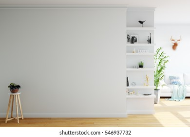 mock up wall interior. Wall art. 3d rendering, 3d illustration