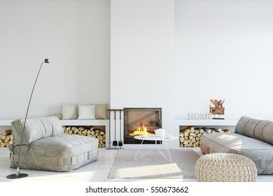 mock up wall interior. Wall art. 3d rendering, 3d illustration