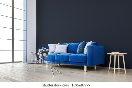 Mock up wall with royal blue sofa in modern interior background, living room, Scandinavian style, 3D render, 3D illustration