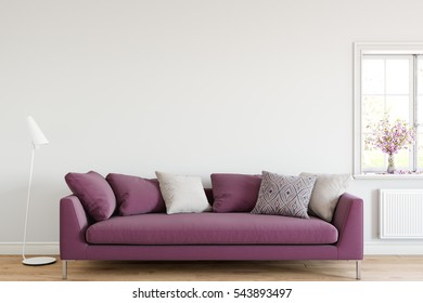 mock up wall with sofa in living room interior. Interior minimalism style. 3d rendering, 3d illustration